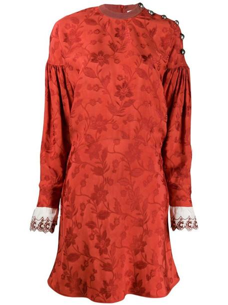 Chloé buttoned jacquard dress in orange