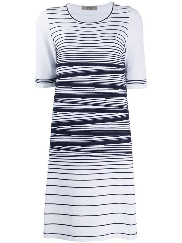 D.Exterior stripe detail stretch knit dress in white
