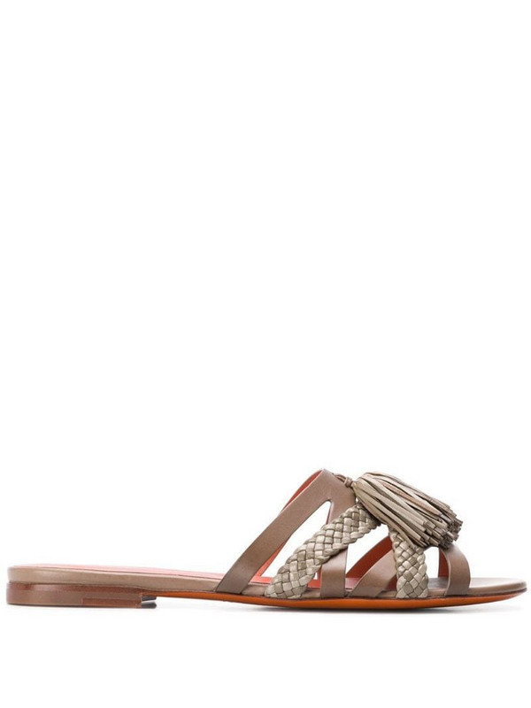 Santoni woven tassel sandals in brown
