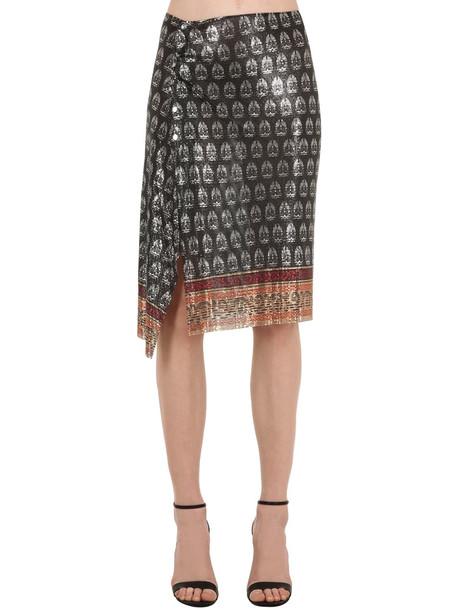 PACO RABANNE Printed Metal Mesh Wrap Skirt in silver