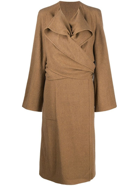 Lemaire knotted wool midi coat in neutrals