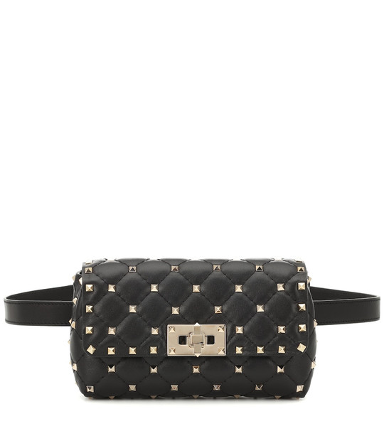 Valentino Garavani Rockstud Spike leather belt bag in black