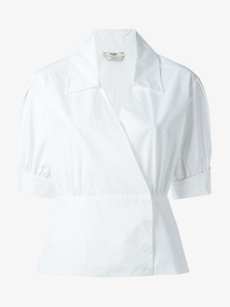 Fendi Shortsleeved Cotton Wrap Shirt in white