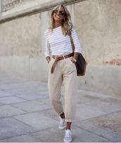 pants,high waisted pants,striped top,vans,sneakers,louis vuitton bag