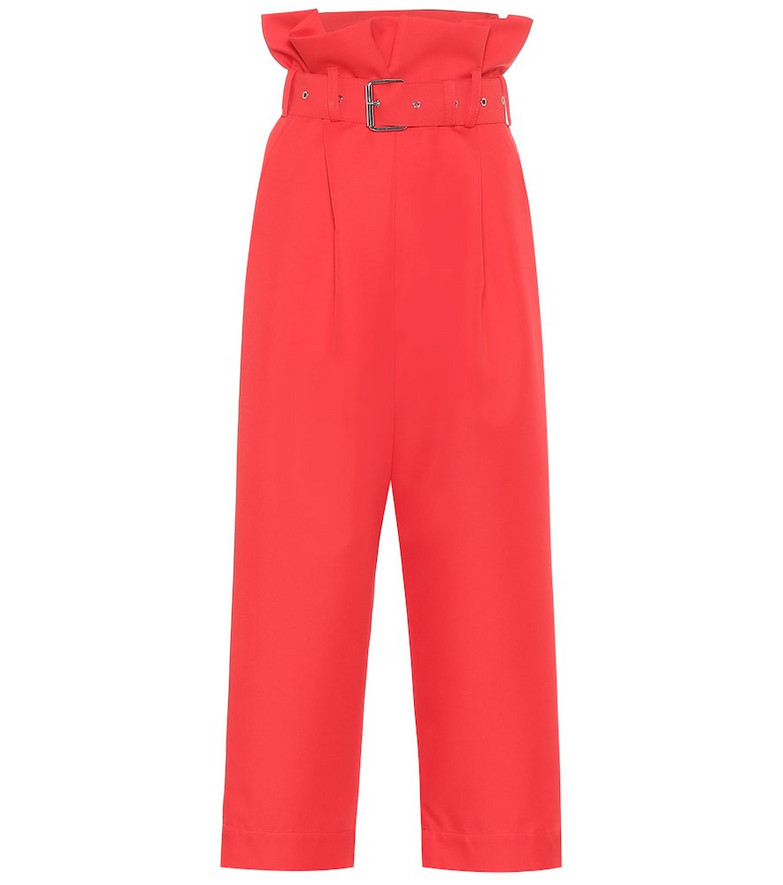 Plan C High-rise cropped straight pants in red