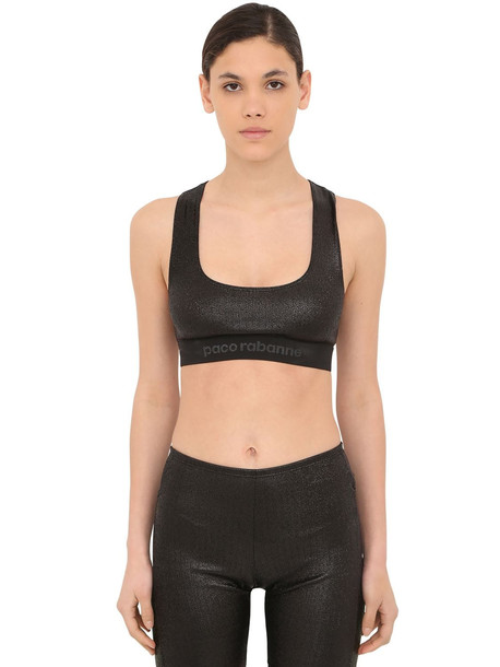 PACO RABANNE Lurex Jersey Sports Bra in black