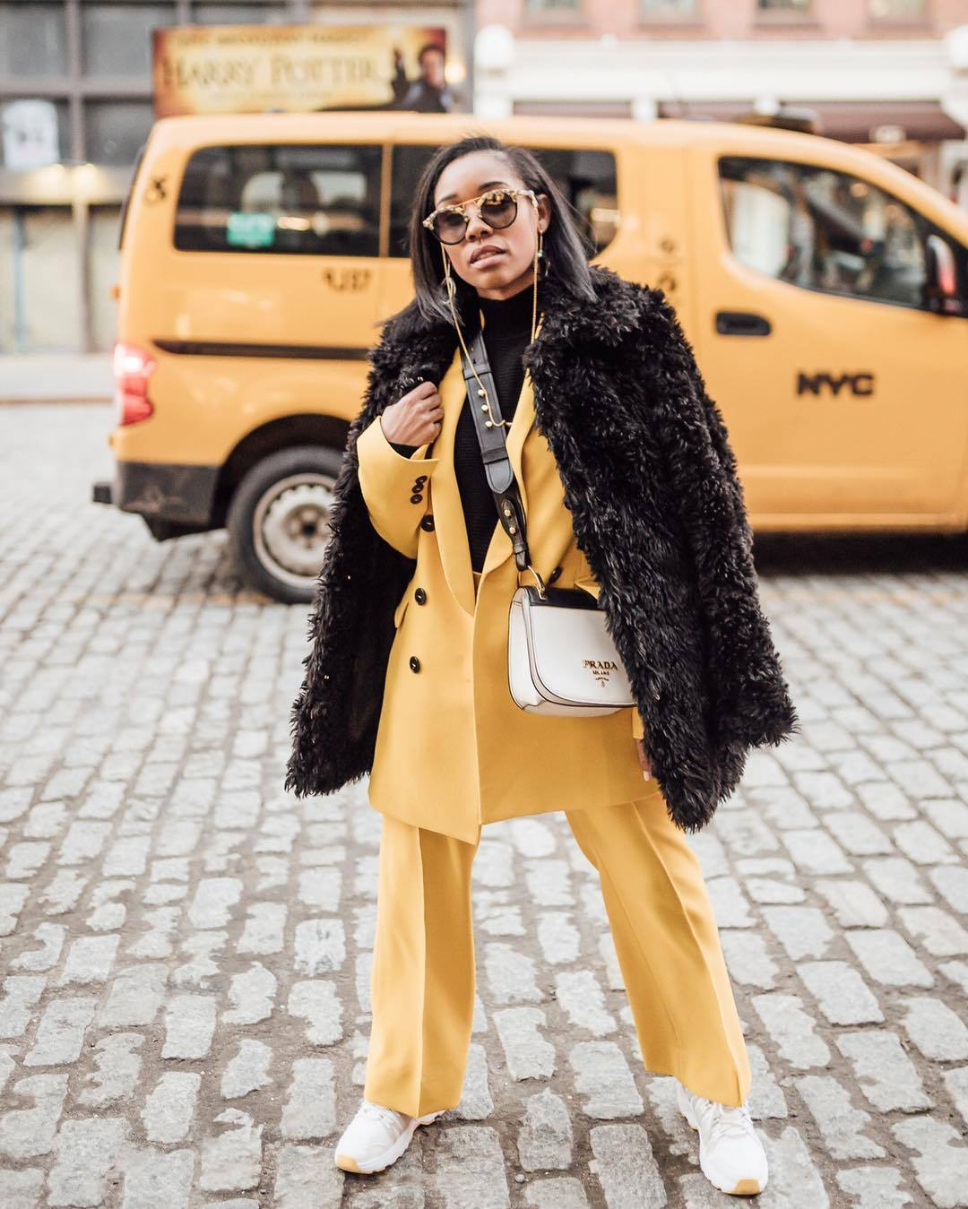 jacket blazer double breasted yellow topshop straight pants pleated white sneakers prada bag white bag black coat faux fur coat black turtleneck top