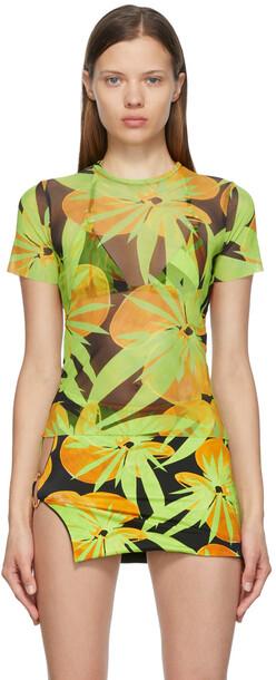 Louisa Ballou SSENSE Exclusive Black & Green Mesh Beach T-Shirt