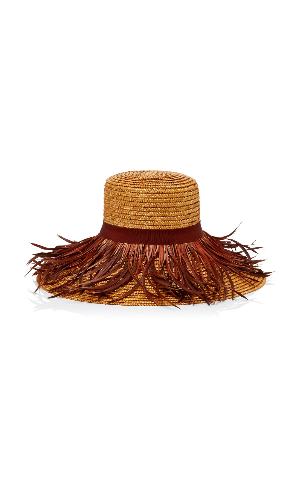 Eugenia Kim Annabelle Feather-Trimmed Straw Hat in brown