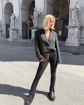 jacket,black blazer,black pants,skinny pants,loafers,louis vuitton bag