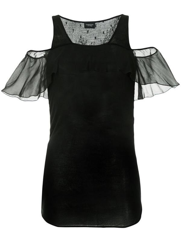 Giambattista Valli open shoulder flutter sleeve top in black