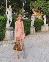 shoes,sandal heels,mini dress,long sleeve dress,brown bag,gucci bag