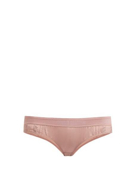 Stella Mccartney Lingerie - Rose Romancing Silk Crepe Briefs - Womens - Light Pink