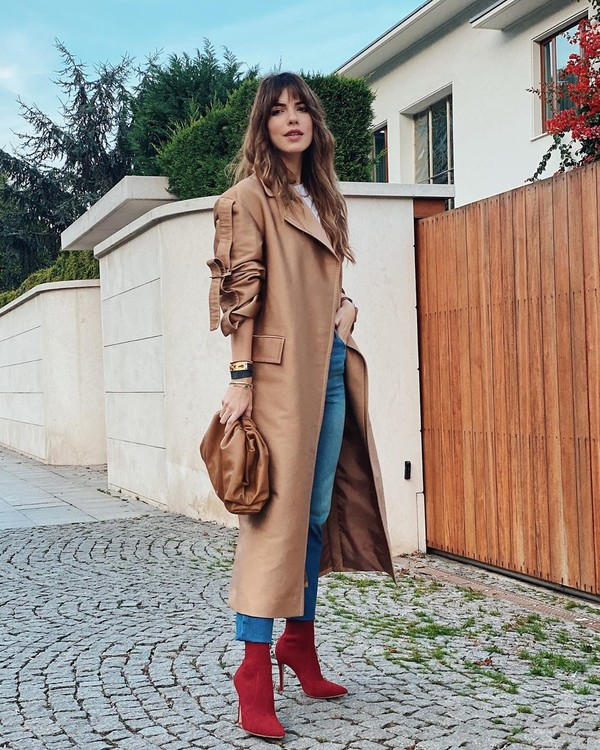 coat trench coat sock boots skinny jeans bag sweater