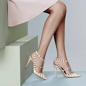 shoes,sandals,pumps,multicolor,stripes,rivets,t-strap,pointed toe,stilleto heels