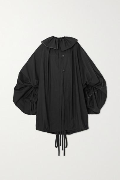 Loewe - Oversized Tie-detailed Gathered Cotton-poplin Coat - Black