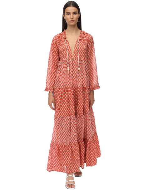 YVONNE S Cotton Voile Maxi Hippy Dress in ivory / red