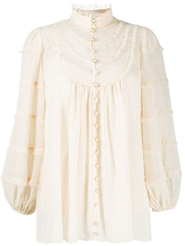 Zimmermann lace-embellished dotted blouse in neutrals