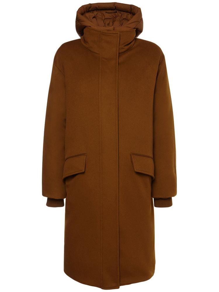 LORO PIANA Cashmere Down Parka Coat in brown