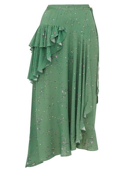 Preen Line - Electra Ruffled Floral Print Crepe Wrap Skirt - Womens - Green Multi