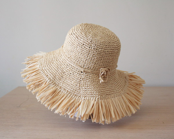 hat raffia raffia hat wide brim hat straw hat fringe hat sun hat packable hat rollable hat