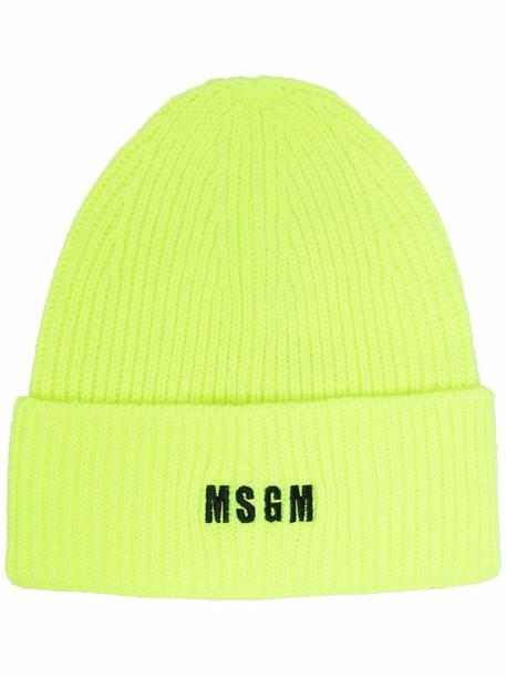 MSGM embroidered-logo beanie - Yellow