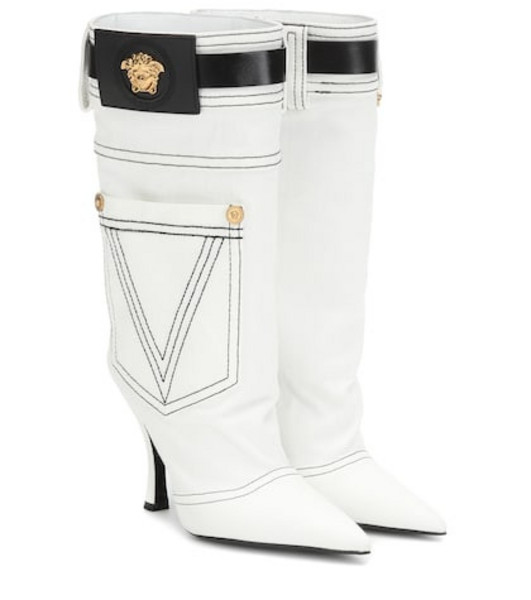 Versace Leather-trimmed denim boots in white