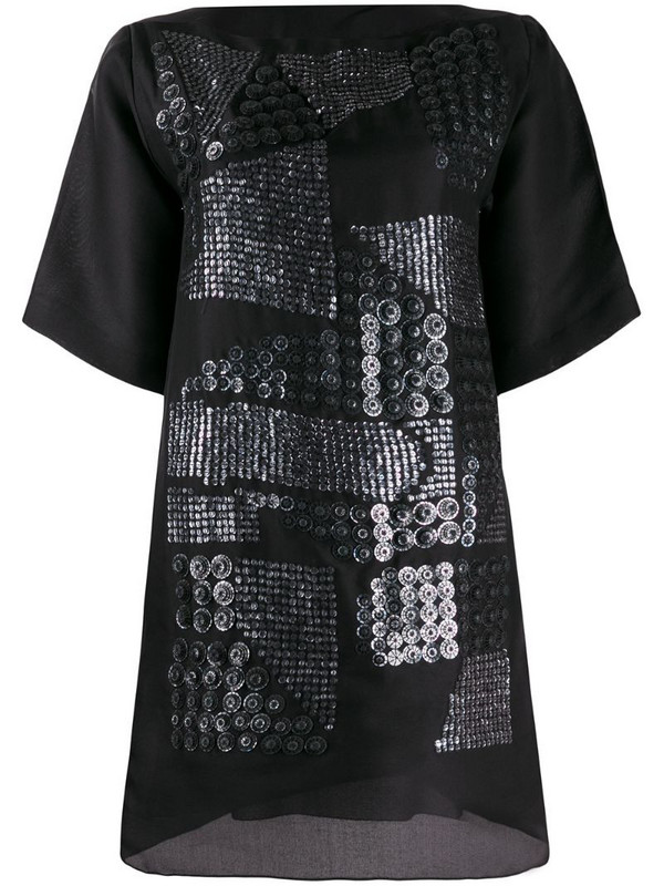 Missoni Pre-Owned asymmetric sequin embroidery T-shirt dress in black