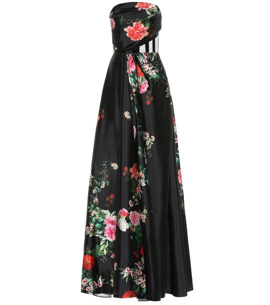 Alex Perry Archer floral satin dress in black