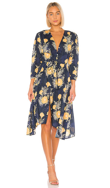 Birds of Paradis by Trovata Ainsley Boho Dress in Navy