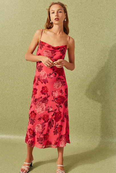 C/MEO COLLECTIVE VARIATION MIDI DRESS hot pink rose