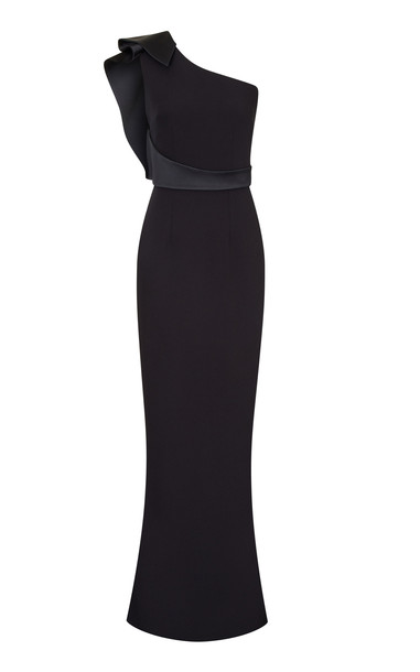 Safiyaa Ethera Asymmetrical Crepe Gown in black