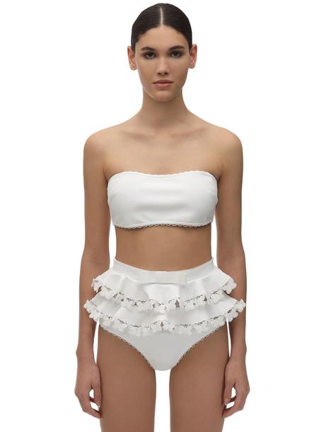 ZIMMERMANN Super Eight Embroidered Lycra Bikini in ivory