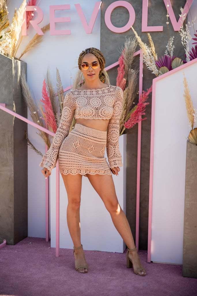 top nude nude dress nude top crop tops cropped skirt mini skirt jasmine sanders celebrity coachella coachella outfit two-piece boho dress