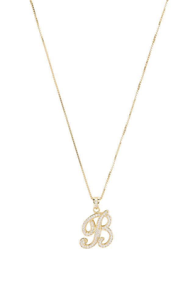 The M Jewelers NY The Iced Out Script Initial B Necklace in gold / metallic