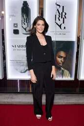 jumpsuit,ashley greene,celebrity,all black everything,pants,blazer,wide-leg pants
