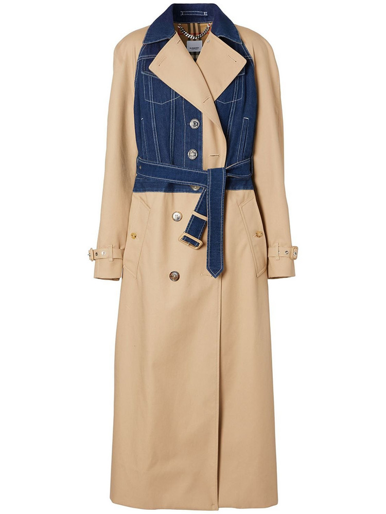 BURBERRY Double Breast Cotton Trench Coat W/denim in beige