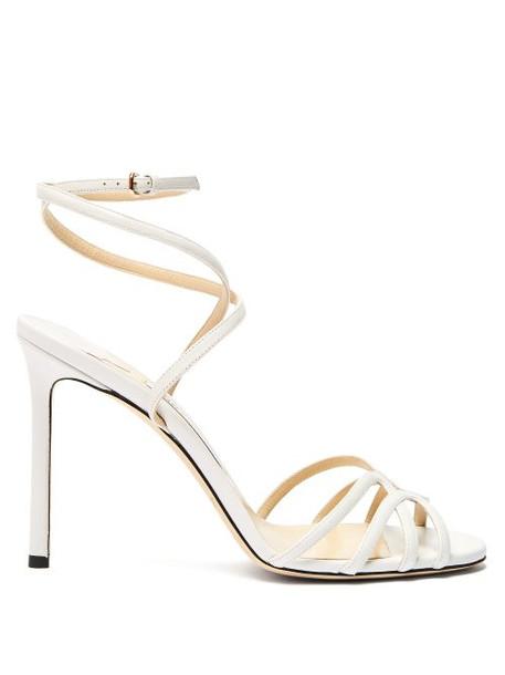 Jimmy Choo - Mimi 100 Wrap Around Leather Sandals - Womens - White
