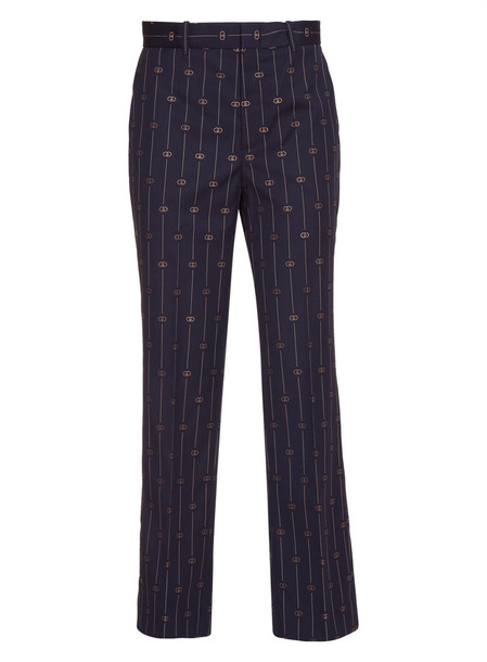 Gucci Pinstriped Gg Wool Silk Blend Cropped Pants