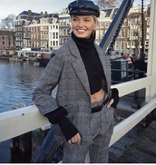 pants,sweater,cropped,cropped sweater,romee strijd,model off-duty,fall outfits,fall sweater,fall colors,blazer,hat