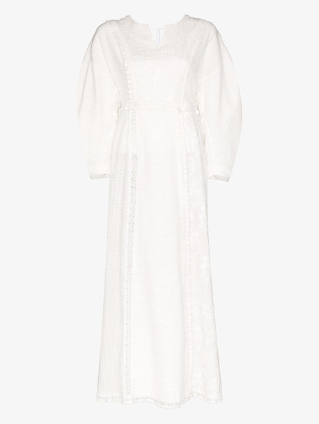 Masterpeace embroidered cotton maxi dress in white