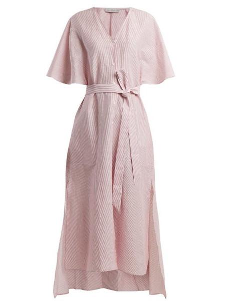 Palmer/harding Palmer//harding - Striped Linen And Cotton Blend Dress - Womens - Red Stripe