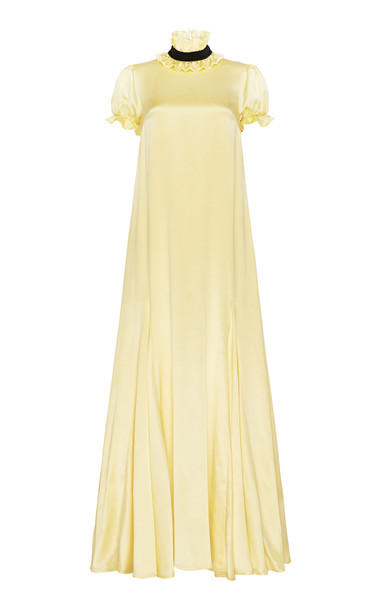 macgraw Elliptical Silk A-Line Gown in yellow