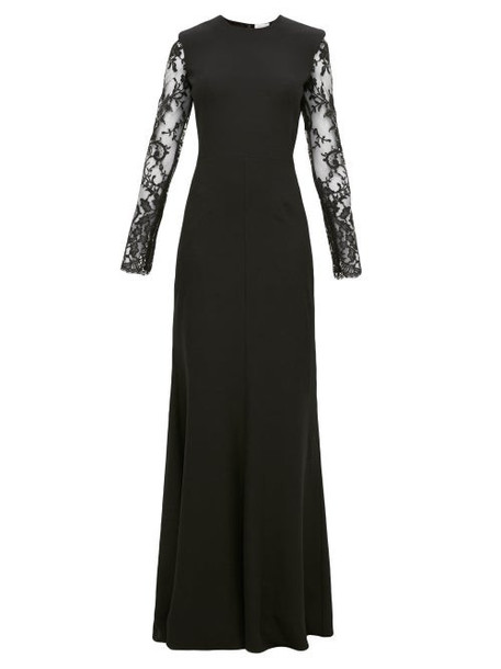 Alexander Mcqueen - Lace-trimmed Leaf-crepe Gown - Womens - Black