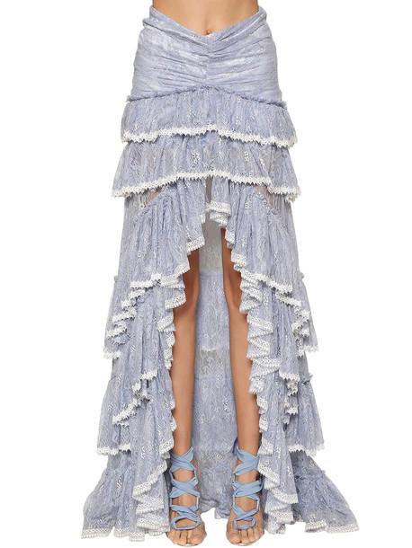 RAISA & VANESSA High Waist Ruffled Lace Skirt in lilac
