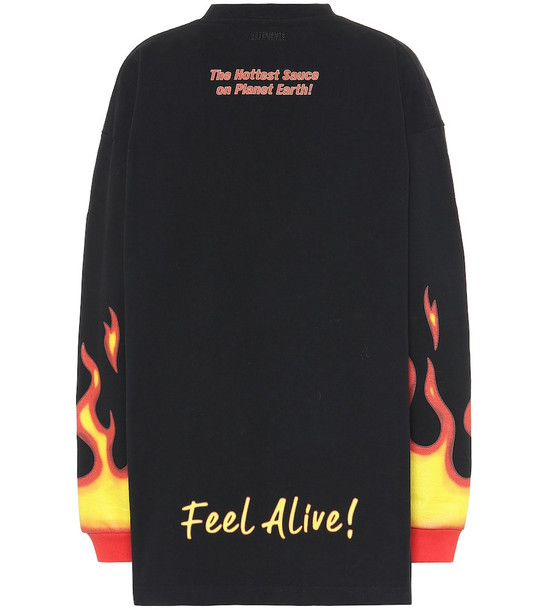 Vetements Printed cotton sweater in black