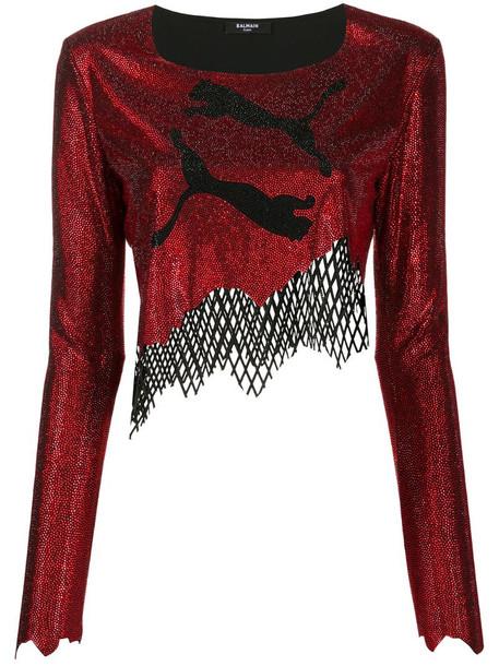 Balmain x Puma asymmetrical crop top in red