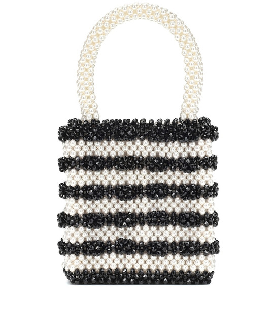 Shrimps Antonia bead and faux-pearl tote in black