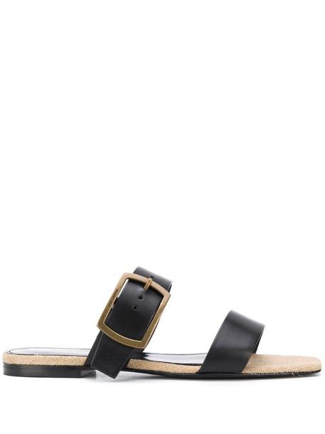 Saint Laurent buckle strap sandals in black