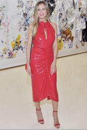 dress,midi dress,heidi klum,celebrity,red dress,red